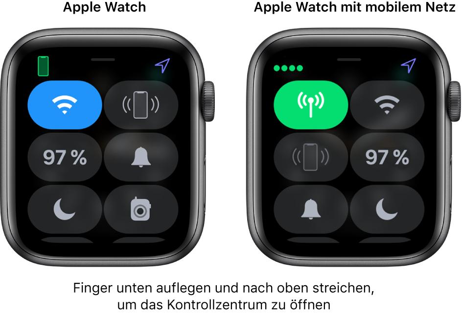 """Zwei Bilder: AppleWatch ohne Mobilfunkverbindung links mit geöffnetem Kontrollzentrum. Die Taste """"Mobiles Netz"""" befindet sich oben links, die Taste """"iPhone anpingen"""" oben rechts, den Batteriestatus in der Mitte links, die Taste """"Stummmodus"""" in der Mitte rechts, die Taste """"Nicht stören"""" unten links und """"Walkie-Talkie"""" unten rechts. Das rechte Bild zeigt eine AppleWatch mit Mobilfunkverbindung. Im Kontrollzentrum siehst du die Taste """"Mobiles Netz"""" oben links, die Taste """"WLAN"""" oben rechts, die Taste """"iPhone anpingen"""" in der Mitte links, den Batteriestatus in der Mitte rechts, die Taste """"Stummmodus"""" unten links und die Taste """"Nicht stören"""" unten rechts."""