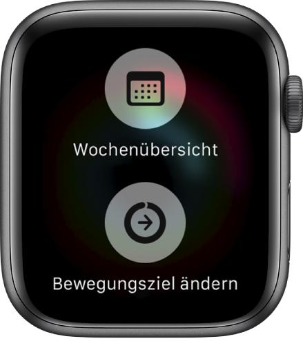 """Bildschirm der App """"Aktivität"""" mit der Taste für die wöchentliche Zusammenfassung und der Taste """"Bewegungsziel ändern""""."""