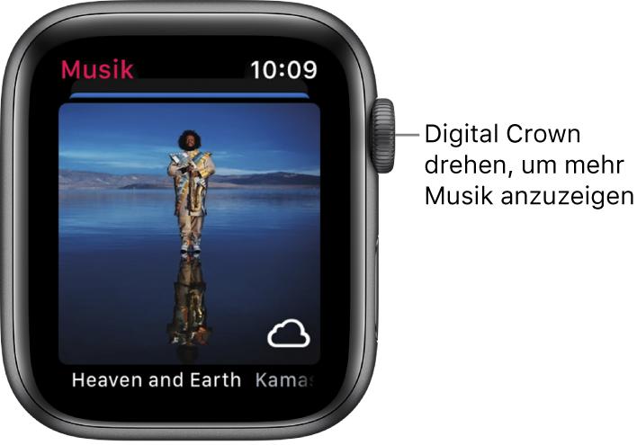 Bildschirm mit einem Album und entsprechendem Cover in der Musik-App.