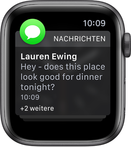 """Eine Mitteilung der App """"Nachrichten"""" mit dem Text """"+2 weitere"""" unten"""", der besagt, dass zwei weitere Mitteilungen vorhanden sind."""