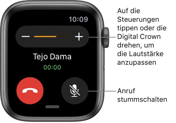 """Während eines eingehenden Anrufs, werden oben auf dem Bildschirm die Symbole """"-"""" und """"+"""" für die Lautstärke angezeigt, sowie die Taste zum Stummschalten unten rechts."""