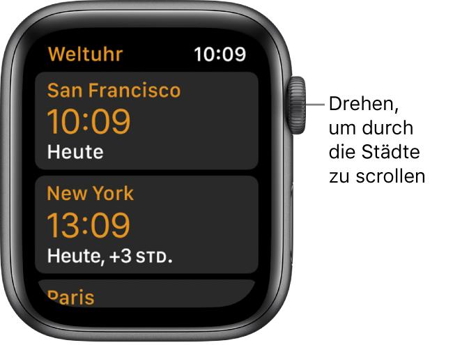 """Die App """"Weltuhr"""", mit der Städteliste und Scrollleiste."""