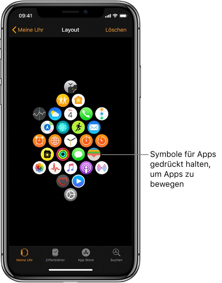 """Der Bildschirm """"Layout"""" der App """"AppleWatch"""" mit in einem Raster angeordneten Apps. Die Legende zu einer App lautet sinngemäß: """"Durch Ziehen mit dem Finger kannst du Apps an andere Positionen bewegen."""""""