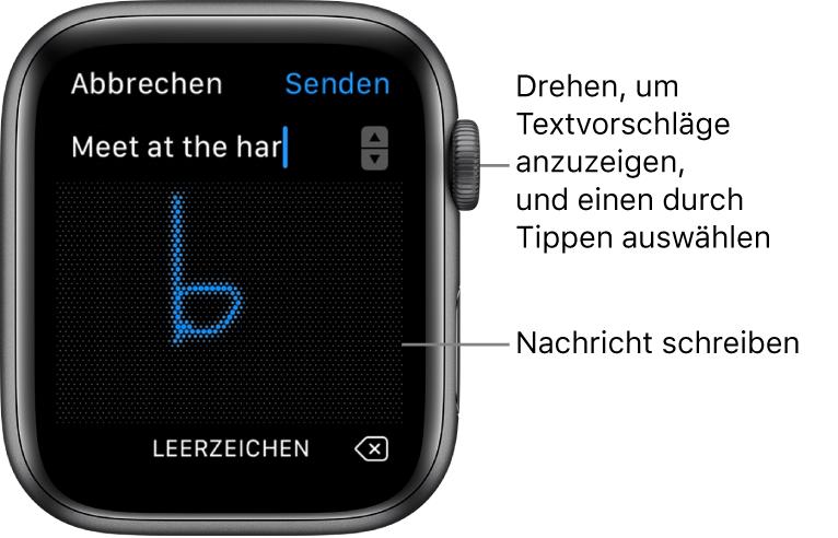 Der Bildschirm, in dem du ein Nachricht kritzelst. Oben werden Textvorschläge angezeigt, in der Mitte schreibst du deine Nachrichten.