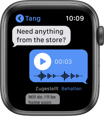 """Nachrichtenbildschirm mit einer Konversation. Die mittlere Antwort ist eine Audionachricht mit der Taste """"Wiedergabe""""."""