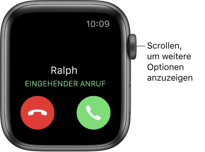 """Der Apple Watch-Bildschirm, wenn du einen Anruf erhältst: der Name des Anrufers, die Wörter """"Eingehender Anruf"""" und die rote Taste """"Ablehnen"""" und die grüne Taste """"Annehmen"""""""