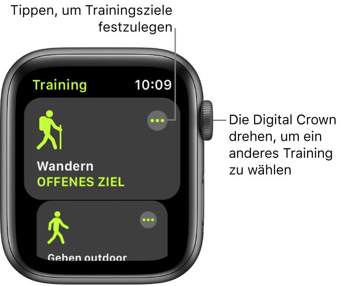 """Der Trainingsbildschirm mit hervorgehobenem Wandertraining Die Taste """"Mehr"""" befindet sich oben rechts. Ein Teil des Outdoor-Lauftrainings darunter."""