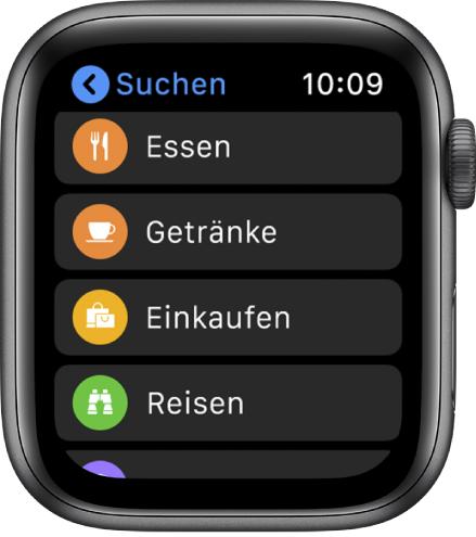 """Die App """"Karten"""", die eine Liste von Kategorien anzeigt: Essen, Trinken, Einkaufen, Urlaub und weitere."""