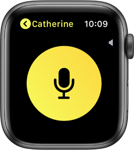 """Der Bildschirm """"Walkie-Talkie"""" mit einer großen Taste """"Reden"""" in der Mitte, Lautstärkeanzeige oben rechts und dem Namen """"Tejo"""" oben links."""