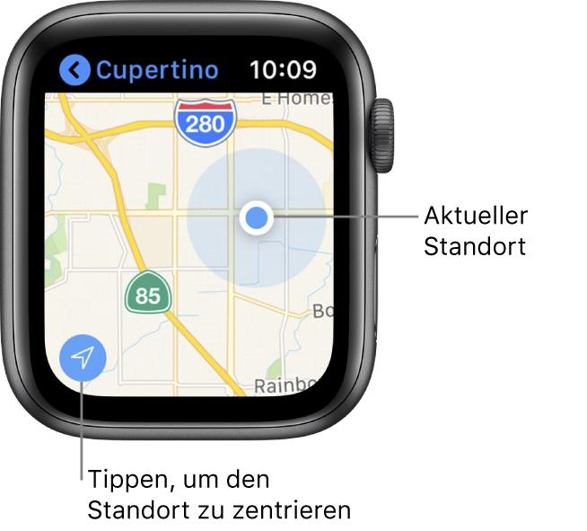 """Die App """"Karten"""" mit angezeigter Karte. Tippe auf den Pfeil unten links, um deinen aktuellen Standort zu zentrieren; dein Standort wird als blauer Punkt auf der Karte angezeigt."""