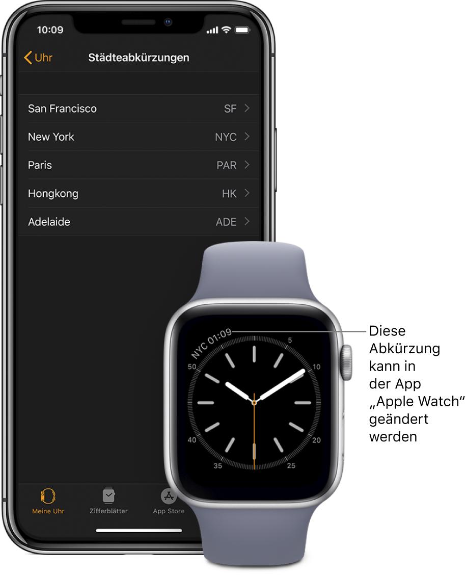 """Zifferblatt mit Pfeil auf die Uhrzeit in New York und der Abkürzung NYC. Der nächste Bildschirm zeigt eine Liste der Städte in der Einstellung """"Städteabkürzung"""" in den Einstellungen für """"Uhr"""" in der App """"AppleWatch"""" auf dem iPhone."""