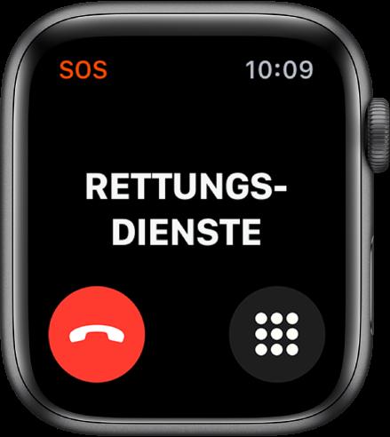 """Der Bildschirm """"Rettungsdienste"""" mit """"Verbinden"""" oben. Die Taste zum Trennen der Verbindung befindet sich unten links und die Taste """"Ziffernblock"""" befindet sich unten rechts."""