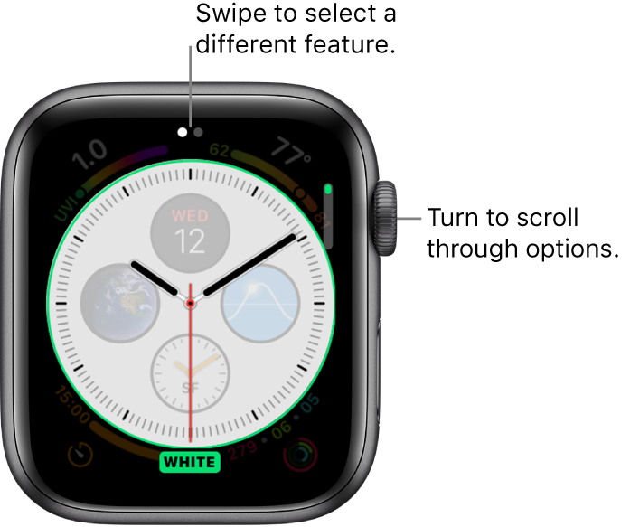Infograph customize screen with dial style feature highlighted. Turn the Digital Crown to change options.