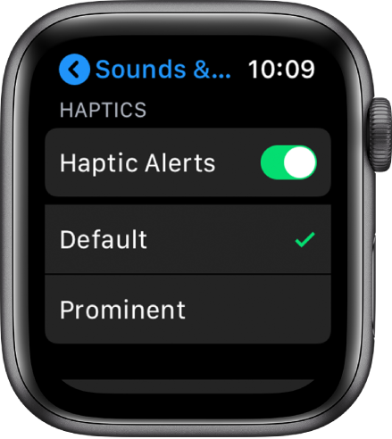 Sounds & Haptics settings on Apple Watch, with the Haptic Alerts switch, and Default and Prominent options below it.