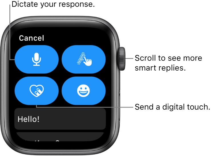 The reply screen showing Dictate, Scribble, Digital Touch, and Emoji buttons. Smart replies are below. Turn the Digital Crown to see more smart replies.