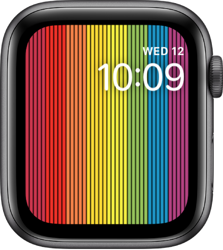 The Pride Digital watch face showing vertical rainbow stripes with the day, date, and time at the top right.