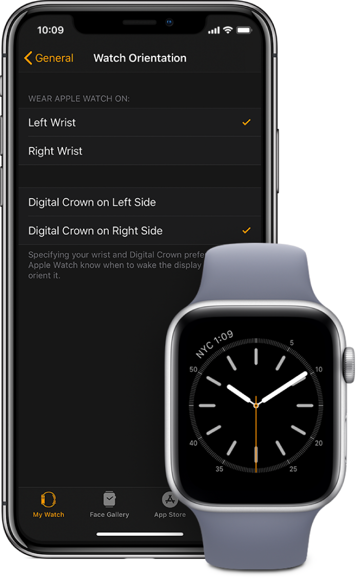Side by side screens showing the Orientation settings in the Apple Watch app on iPhone and on Apple Watch. You can set your wrist and Digital Crown preference.