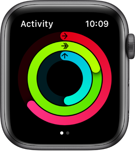 The Activity screen, showing the Move, Exercise, and Stand rings.