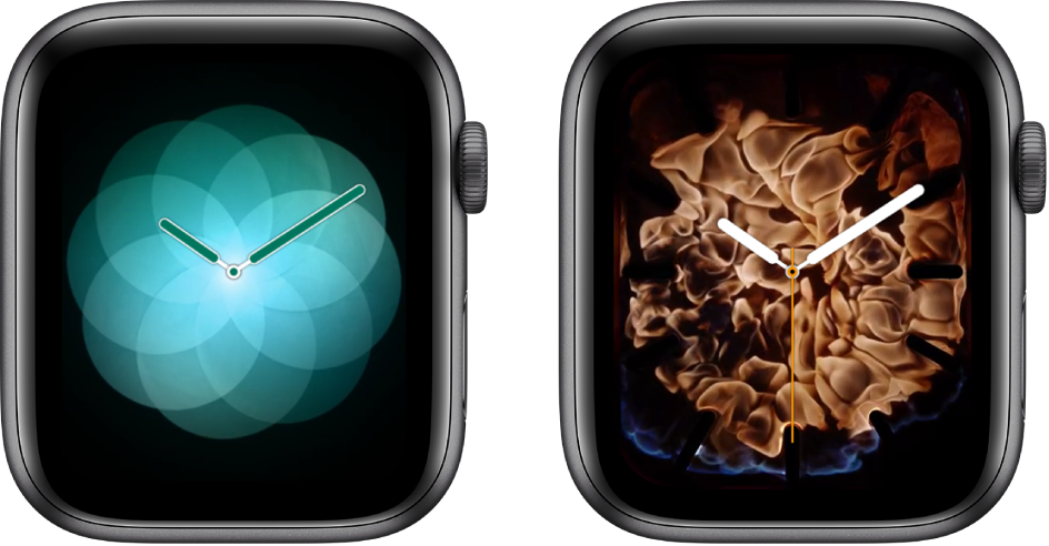 Two watch faces—Breathe and Fire and Water.