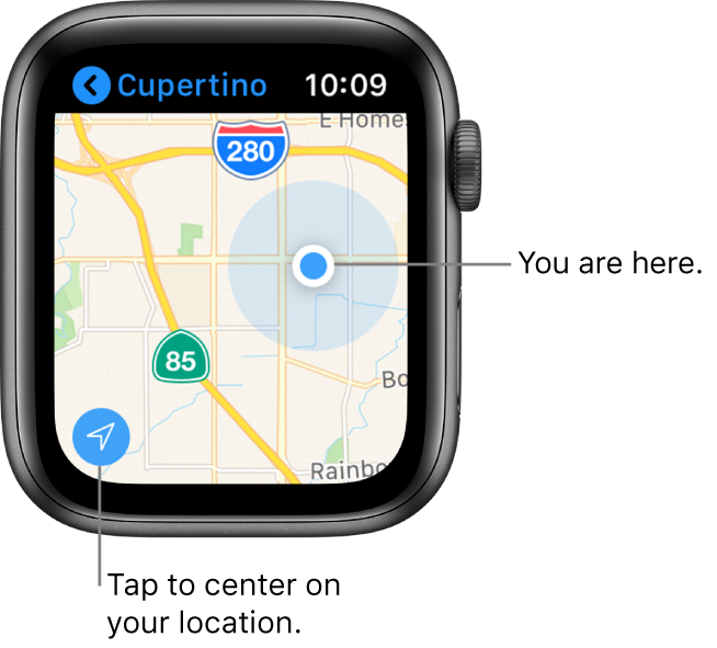 The Maps app showing a map; tap the arrow in the bottom-left corner to center on your current location; your location is shown as a blue dot on the map.
