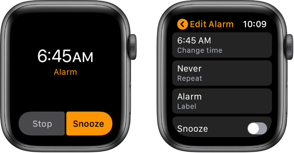 Two watch screens: One shows a watch face with an alarm snooze button, and the other shows the Edit Alarm settings, with the Snooze control near the bottom.