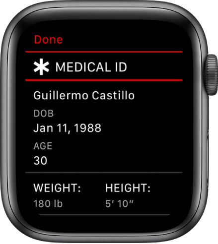The Medical ID screen showing the user's name, date of birth, age, weight, and height.