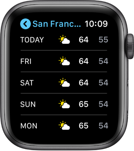 The Weather app showing the cities list.