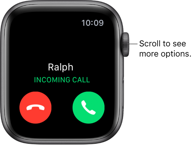 "The Apple Watch screen when you receive a call: the name of the caller, the words ""Incoming Call,"" the red Decline button, and the green Answer button."