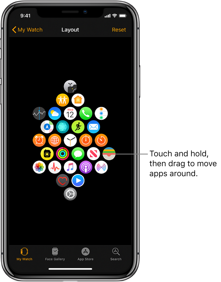 "The Layout screen in the Apple Watch app showing a grid of icons. A callout points to an app icon and reads, ""Touch and drag to move apps around."""