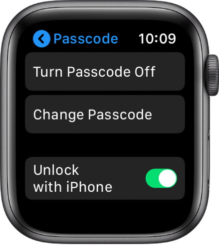 Passcode settings on Apple Watch, with Turn Passcode Off button at top, Change Passcode button below it, and Unlock with iPhone at bottom.