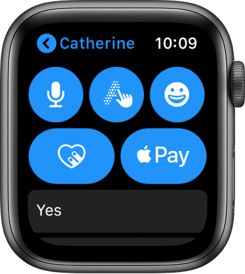 A Messages screen showing an Apple Pay button on the bottom right.