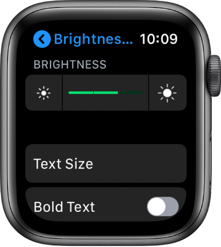 Brightness settings on Apple Watch, with the Brightness slider at the top, the Text Size button below, and the Bold Text control at the bottom.