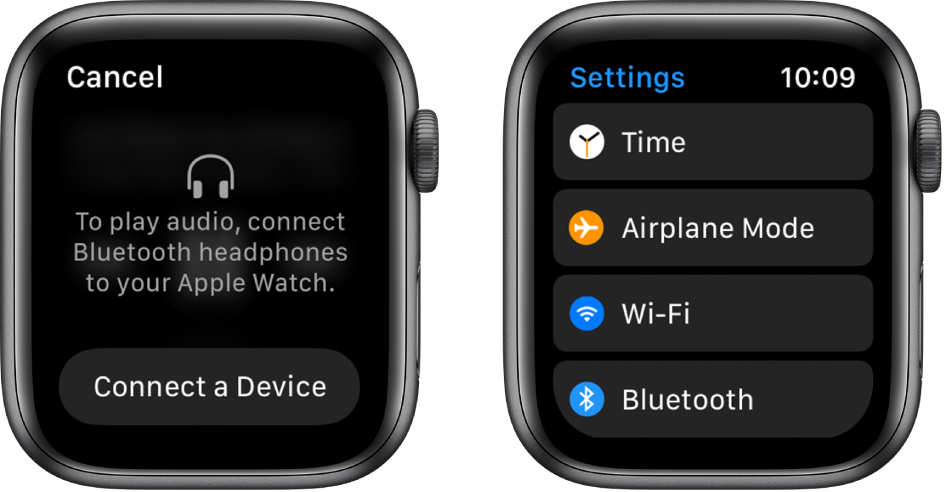 If you switch the audio source to your Apple Watch before you pair Bluetooth speakers or headphones, a Connect button appears in the center of the screen that takes you to Bluetooth settings on your Apple Watch, where you can add a listening device.
