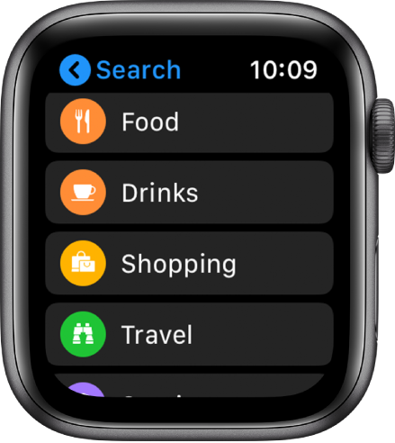 The Maps app showing a list of categories: Food, Drinks, Shopping, Travel, and more.