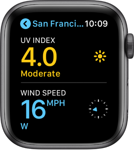 The Weather app, showing the air quality and UV index in New York.