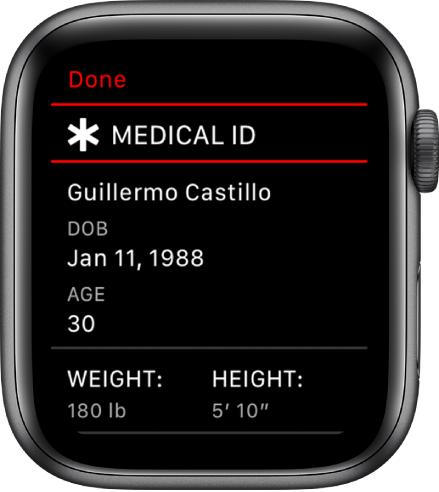 A medical ID screen showing a user's name, date of birth, age, weight, and height.