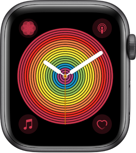 The Pride Analog watch face using the Circular style. There are four complications shown: Breathe at the top left, Podcasts at the top right, Music at the bottom left, and Heart Rate at the bottom right.