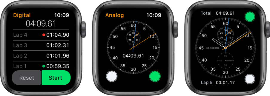 Three watch faces showing three types of stopwatch: A digital stopwatch in the Stopwatch app, an analog stopwatch in the app, and the stopwatch controls available from the Chronograph watch face.