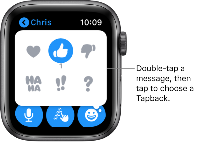 A Messages conversation with Tapback options: heart, thumbs up, thumbs down, Ha Ha, !!, and ?.