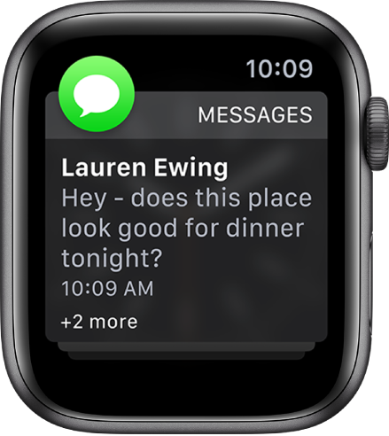 "A Messages notification showing the text of a message with the words ""+2 more"" below, indicating that there are two more message notifications."