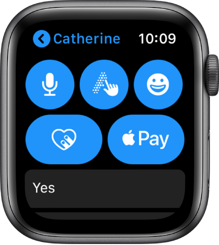 A Messages screen showing the Apple Pay button at the bottom-right.
