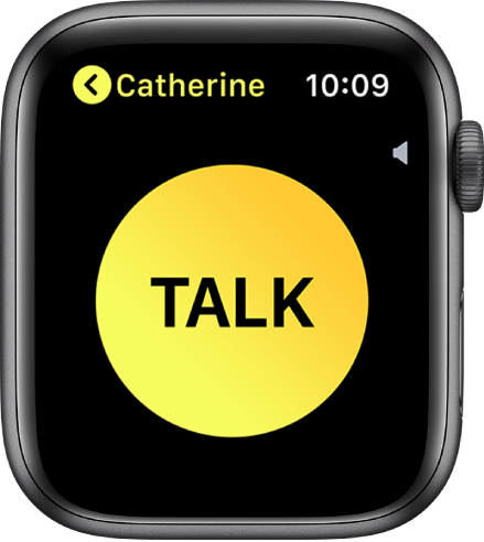 """The Walkie-Talkie screen showing a large Talk button in the middle, volume indicator at the top right, and the name """"Tejo"""" in the top left."""