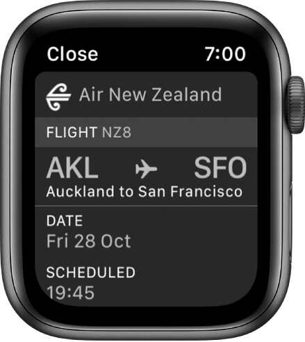 Apple Watch showing a boarding pass.