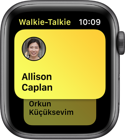 The Walkie-Talkie screen showing a contact.