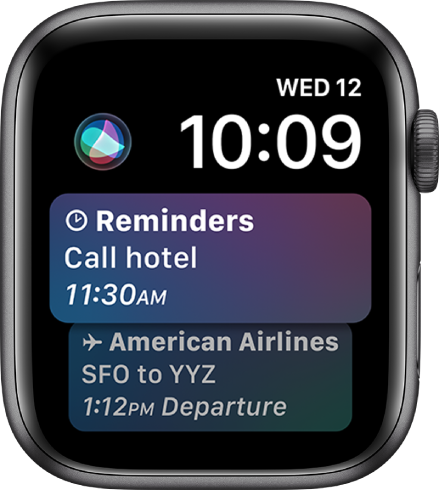 The Siri watch face, showing a news headline and stock price. A Siri button is at the top left of the screen.