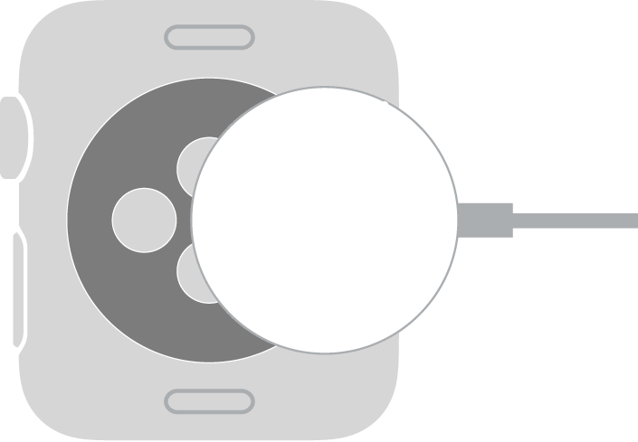 The concave end of the Apple Watch Magnetic Charging Cable snaps to the back of Apple Watch magnetically.
