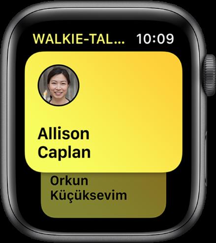 Pantalla de Walkie-talkie mostrando un contacto.