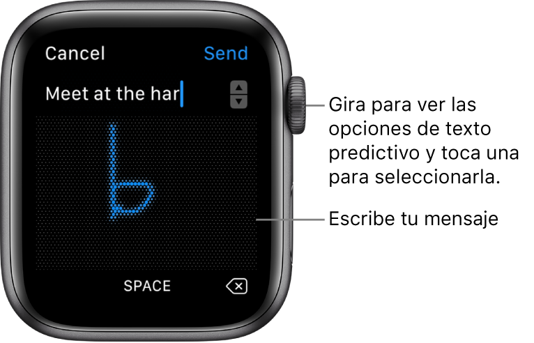 La pantalla donde puedes escribir a mano una respuesta. En la parte superior aparecen las opciones de texto predictivo, y en el centro puedes escribir tu mensaje.