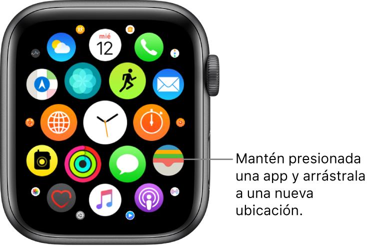 """Pantalla de inicio del AppleWatch en la visualización como cuadrícula. El globo dice """"Mantén presionada una app y arrástrala a otro lugar""""."""