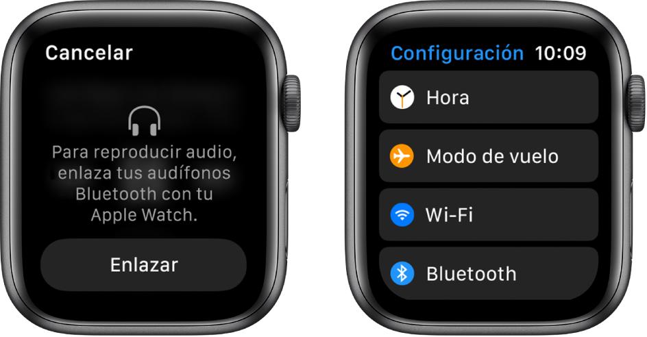 """Si cambias la fuente de la música a tu AppleWatch antes de enlazar las bocinas o audífonos Bluetooth, aparecerá el botón """"Conectar un dispositivo"""" en la parte inferior de la pantalla que te lleva a la configuración Bluetooth de tu AppleWatch, donde podrás agregar un dispositivo."""